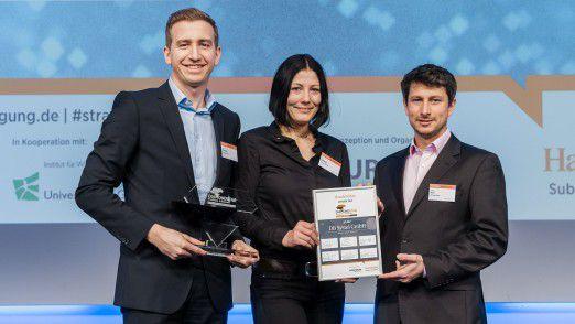 Die Preisträger: Jan Rudolph, Peggy Karstedt und Rüdiger Kurz von DB Systel