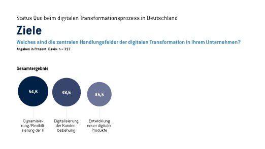 Flexibilisierung der IT und Dynamisierung der Kundenbeziehungen sind für Unternehmen mit Abstand die wichtigsten Digitalisierungsziele.