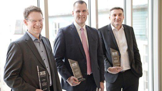 Die Sieger (v. l. n. r.): CIO Eric Heinen-Konschak von der GIZ (Platz 2), CIO Michael Sonne von Interhyp (Platz 1) und CIO Andreas Miehle von Constantia Flexibles (Platz 3).
