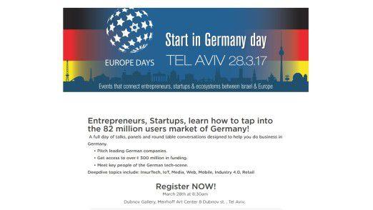 Start in Germany day in Tel Aviv: Israelische Unternehmer sollen bei der Konferenz konkrete Informationen über die Besonderheiten des deutschen Marktes erhalten.