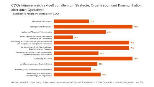 In ihrem Arbeitsalltag erleben drei von vier CDOs, dass sie sich um den reibungslosen IT-Betrieb kümmern.