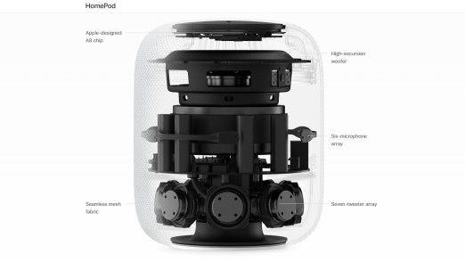 Apple HomePod: Blick ins Innere.