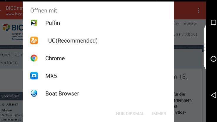 Die verschiedenen Browser in Android - auf Wunsch kann man einen Browser als neuen Standard (Öffnen mit xxx immer) definieren.