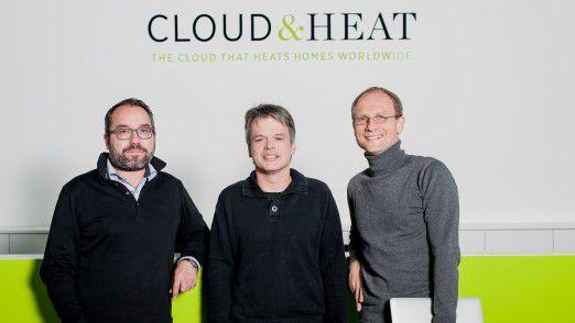 Die Cloud&Heat-Gründer: CEO Rene Marcel Schretzmann (v.l.), Prof. Dr. Cristof Fetzer, Dr. Jens Struckmeier (CTO)