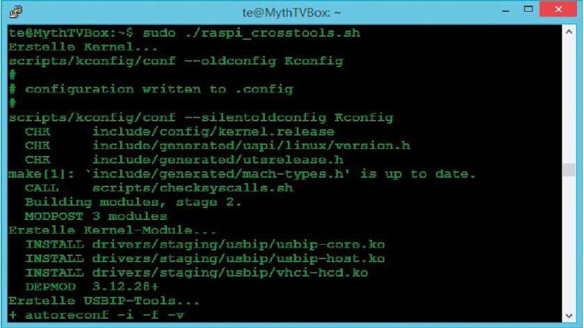 Module kompilieren: Bei Raspbian fehlen die nötigen Kernel-Module für die Usbip-Software. Sie erstellen diese am schnellsten unter Ubuntu auf einem PC oder in einer virtuellen Maschine.