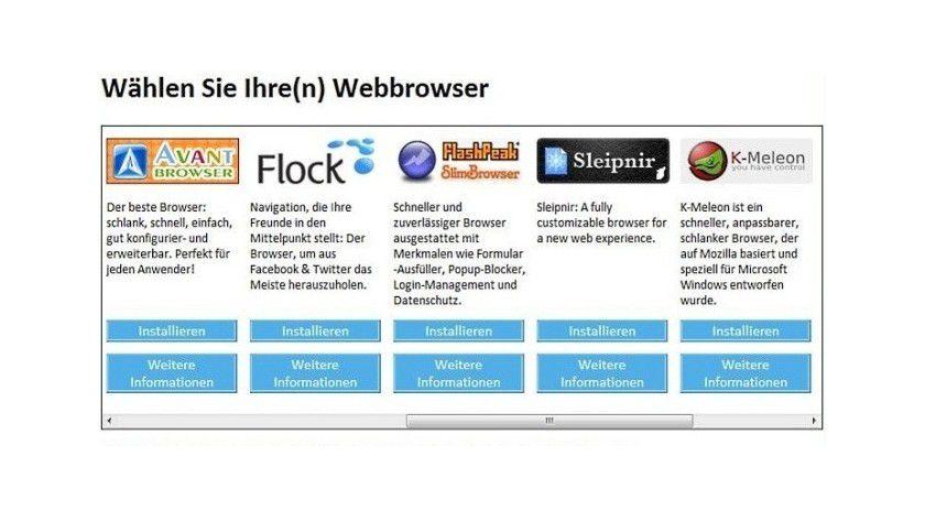 Geschichte: Windows kommt ab sofort ohne Browser-Auswahlfenster.