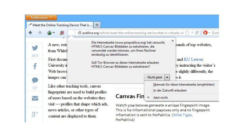 Der TOR-Browser weist schon in der Standardkonfiguration auf Canvas-Elemente auf Webseiten hin und bietet die Möglichkeit, die Ausführung zu verhindern.