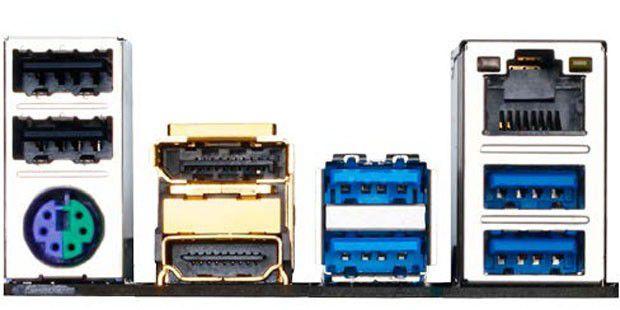Links über dem grün-lilafarbenen PS/2-Port sind die zwei schwarzen USB-2.0-Anschlüsse zu sehen. Rechts sind die USB-Ports nach dem 3.0-Standard in blau vorhanden. Je nach Mainboard gibt es mehr oder weniger 3er-USB-Ports.