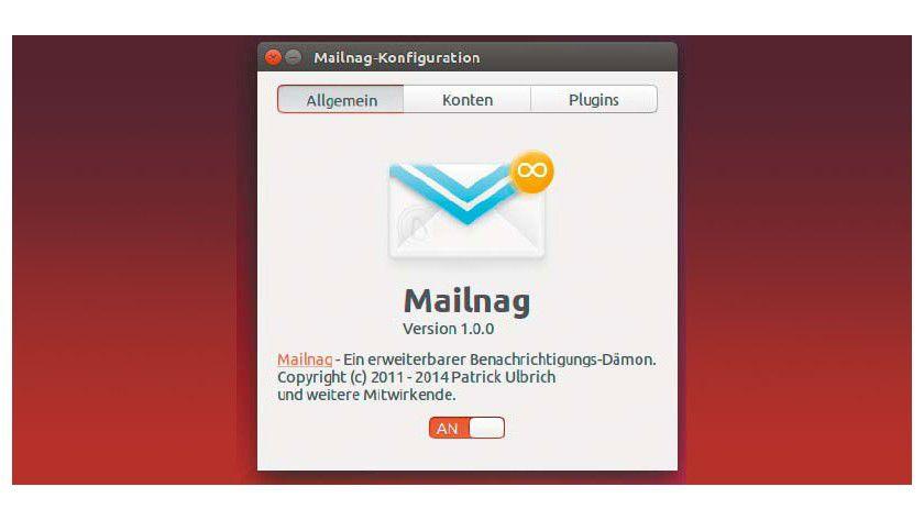Mailnag einrichten: Das Programm bringt einen überarbeiteten Konfigurationsdialog mit. Die Passwörter der Mailkonten speichert Mailnag sicher im Gnome-Keyring.