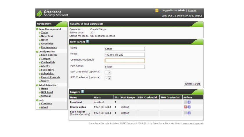 Einzelne Server können Sie als Target hinzufügen, um nach Sicherheitslücken zu scannen.