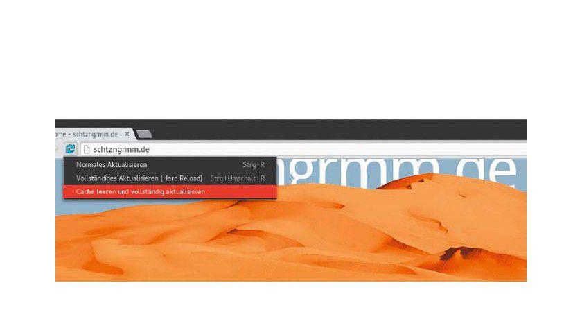 Immer frisch vom Webserver: Wenn der Entwicklermodus (Taste F12) in Chrome/Chromium aktiv ist, dann zeigt das Symbol zum Neuladen diese Optionen an. Hier können Sie auch den gesamten Browser-Cache löschen.