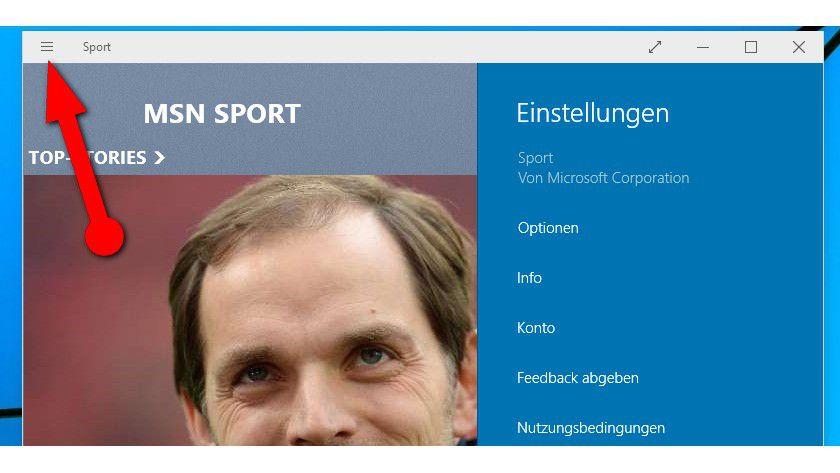 """Ein Klick auf den Button mit drei Balken ganz links in der Titelleiste von Apps öffnet das neue Optionsmenü mit Funktionen wie """"Suchen"""", """"Freigeben"""" und """"Einstellungen""""."""