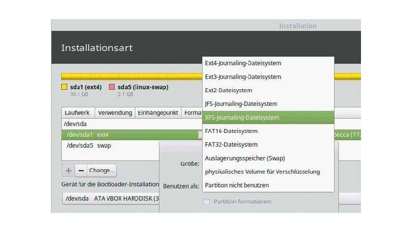 Dateisystem-Angebot beim Ubuntu-Installer, den auch Linux-Mint verwendet. Bei einer manuellen Partitionierung können Sie für jede Partition das Dateisystem selbst festlegen.