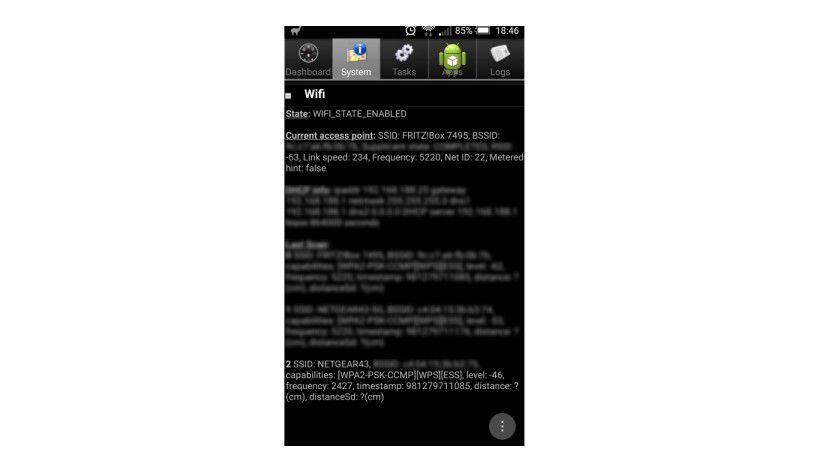 Schnelles WLAN im Smartphone: Die Android-App System Info for Android zeigt an, auf welchen Frequenzen das Smartphone WLAN-Gegenstellen erkennt. Damit prüfen Sie, ob das Handy Dual-Band-WLAN besitzt