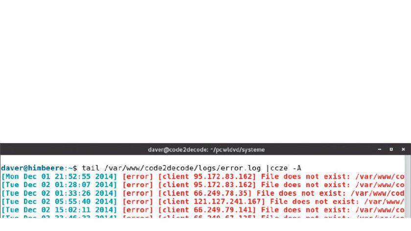 Übersichtlich dank farbiger Syntax: Das Tool ccze fügt in die Ausgabe Ansi-Steuerzeichen ein. Das hilft zur farbigen Absetzung von Textelementen etwa in Logdateien.