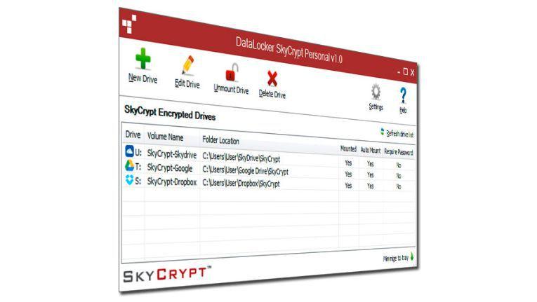 Datalocker Skycrypt legt virtuelle Laufwerke an und verschlüsselt sie mit 256 Bit AES.