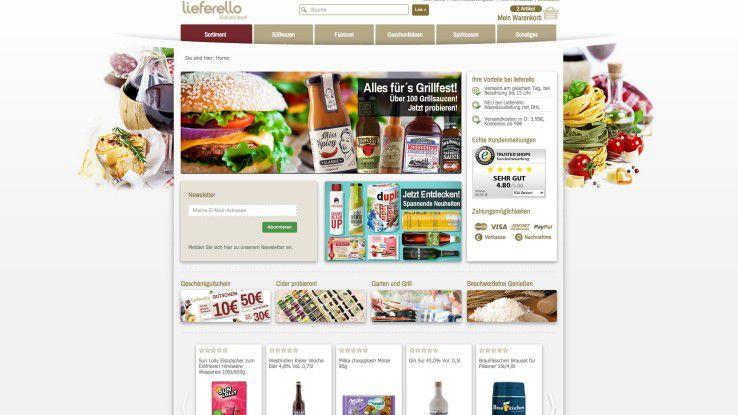 """Beispiel für die Webshop-Übersichtsseite nach Eingabe des Begriffs """"Grillen""""."""