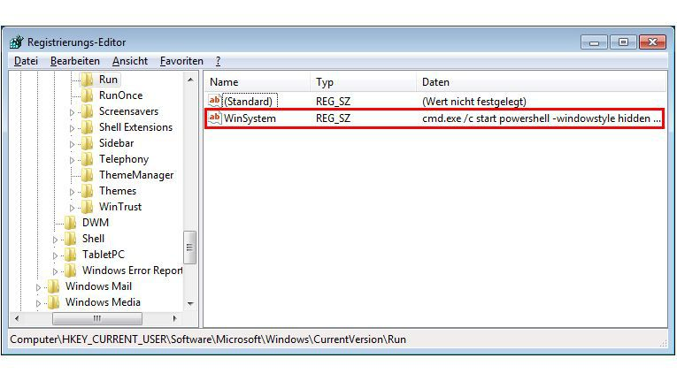 Registry-Eintrag, um bei einem Neustart dauerhaft präsent zu bleiben (rot markiert)