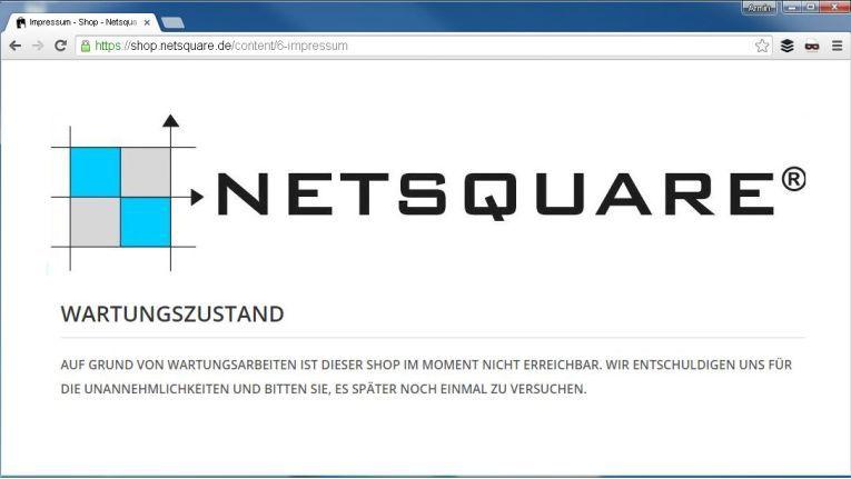 Der Shop von Netsquare ist derzeit angeblich wegen ''Wartungsarbeiten'' nicht erreichbar.