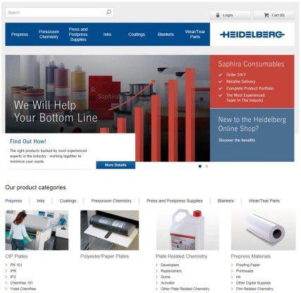 So präsentiert sich der neue Online-Shop der Heidelberger Druckmaschinen.