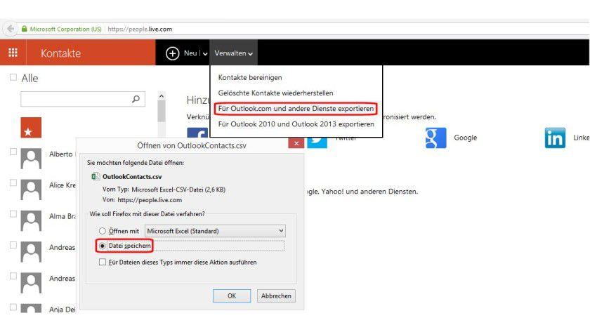 Die Übernahme bestehender Kontakte aus iOS, Outlook und Outlook.com (Windows Phone) ist schnell erledigt. Im Bild das Abspeichern der CSV-Datei unter Outlook.com.