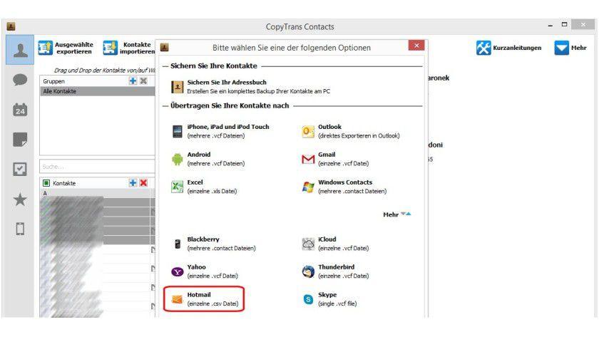 Das Windows-Programm CopyTrans extrahiert die Kontakte aus dem iPhone und iPad für die Weiterverarbeitung, unter anderem in das CSV-Format.