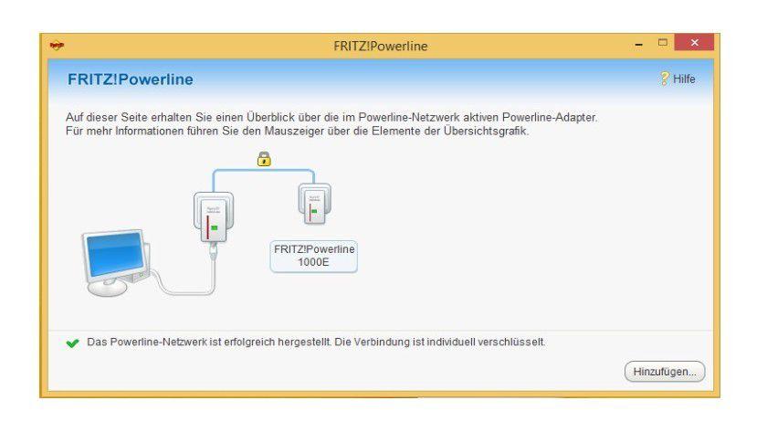 Sehr übersichtlich: Fritz Powerline, das Software-Tool zum AVM-Powerline-Adapter