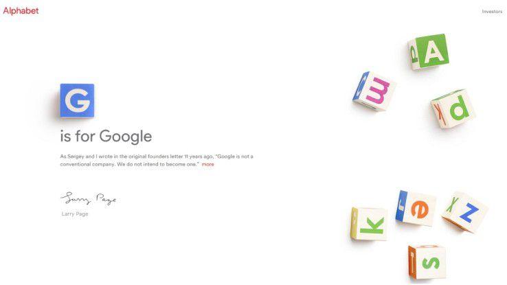 G is for Google: Screenshot der Alphabet-Homepage