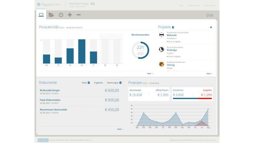 Auf dem Dashboard erhalten Anwender einen Überblick über die zuletzt bearbeiteten Daten und können schnell auf Projekte, Belege, Angebote, Rechnungen und so weiter zugreifen.
