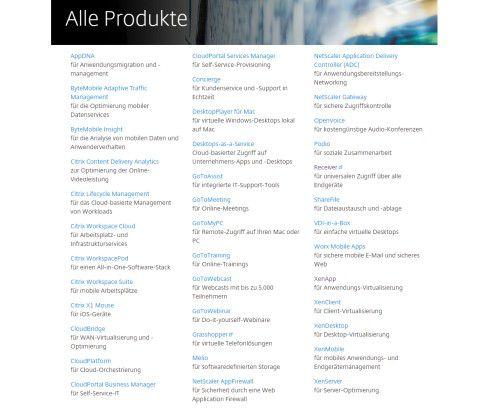 Das Produktportfolio von Citrix im Detail.