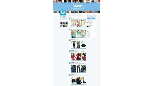 Twitter-Auftritt des Mobile-Shopping-Startups Wish.