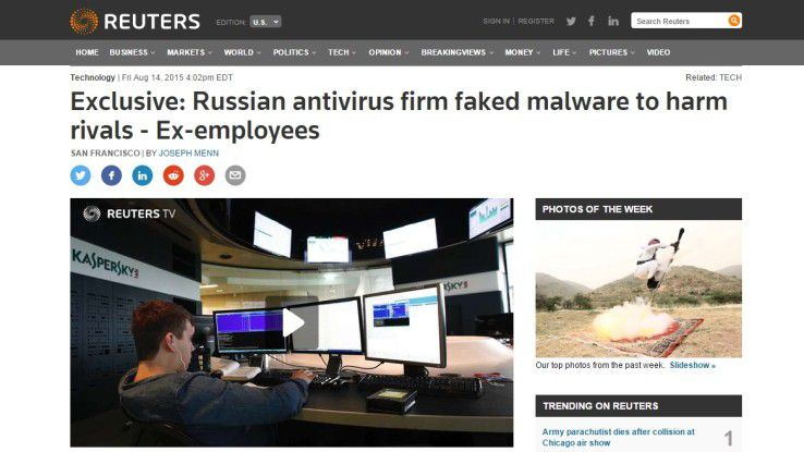 Die Nachrichtenagentur Reuters veröffentlichte am Freitag die Vorwürfe gegen Kaspersky.