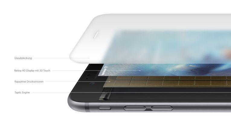Im neuen Display von iPhone 6s und iPhone 6s Plus hat Apple drei Druckstufen integriert.