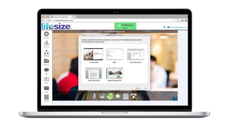 Die Lifesize Web App erlaubt auch das Content-Sharing während einer Videokonferenz.