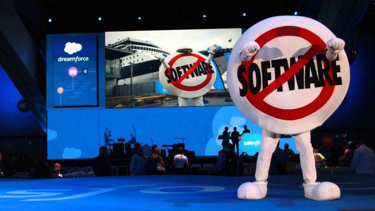 """Mit """"No Software"""" will Salesforce auch weiterhin Boden auf die drei weltgrößten Softwareunternehmen gut machen."""