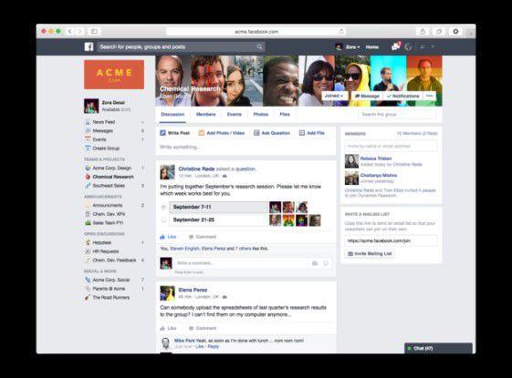 Facebook at Work. Unternehmensstartseite