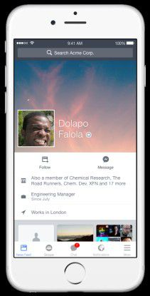 Personenprofil in Facebook at Work. Mobile App