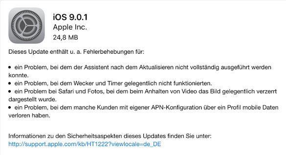 Wartungs-Update: iOS 9.0.1 steht bereit