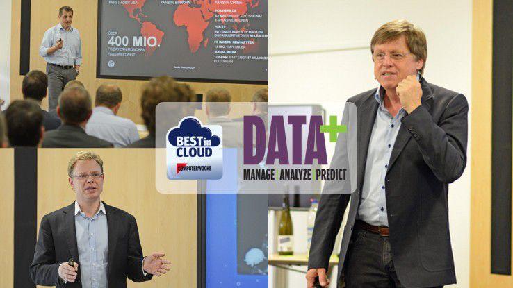Michael Fichtner (CIO des FC Bayern), Stephan Schambach (Gründer von Intershop und Demandware) sowie Professor Ulrich Walter (re., deutscher Astronaut und Ordinarius für Raumfahrttechnik) sprachen bei Best in Cloud und DATA+.