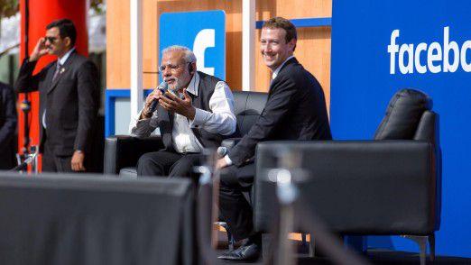 Für Premier Modi hatte Mark Zuckerberg ausnahmsweise auf das graue T-Shirt verzichtet.