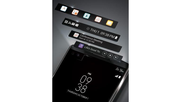 Der Second Screen des LG V10 informiert u.a. über eingegangene Nachrichten