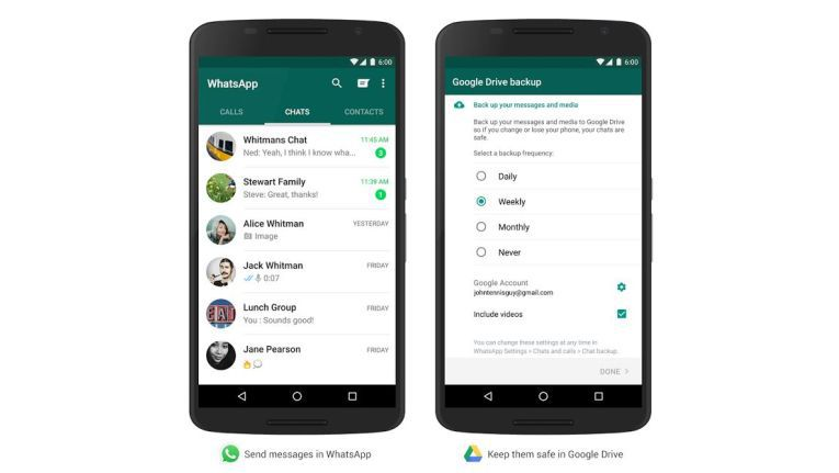 WhatsApp erhält unter Android Backup-Funktion in Google Drive