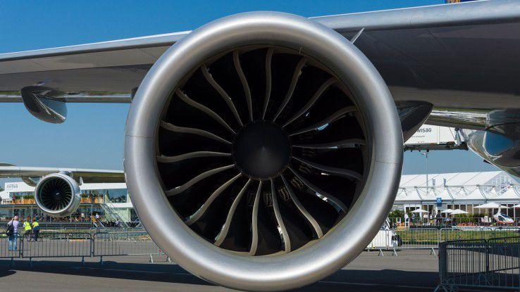 Vernetzt, überwacht und sicher über den Wolken: Das Turbofan-Triebwerk von General Electric in einer Boeing 747-8.