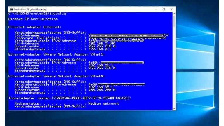 """Das Kommandozeilenprogramm """"ipconfig"""" zeigt, dass Windows 10 so konfiguriert ist, dass es auch IPv6 auf den Netzwerkschnittstellen verarbeiten kann."""