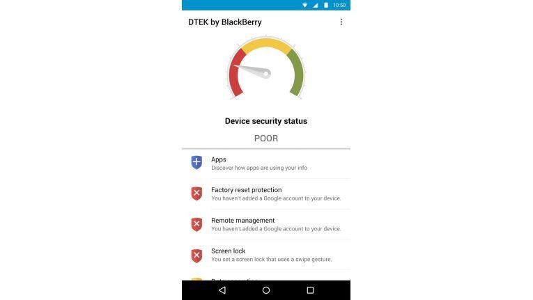 Die Blackberry-App DTEK gibt Aufschluss über den Sicherheitsstatuns des Geräts.