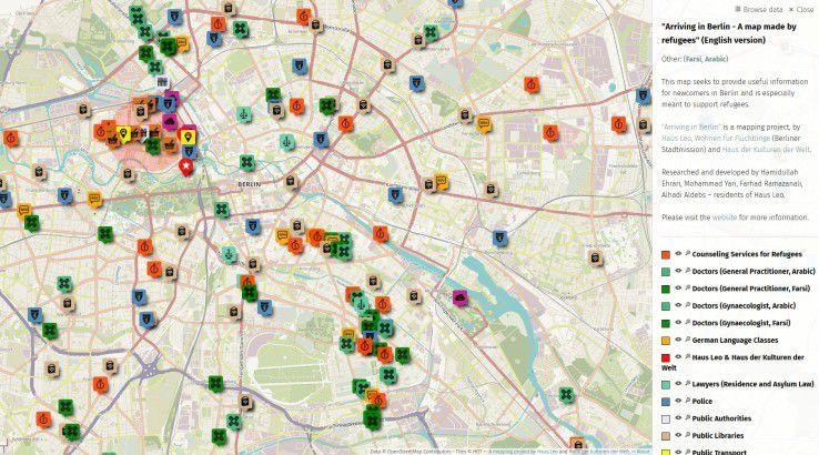 """Das Projekt """"Arriving in Berlin"""" bietet interaktive Unterstützung für Flüchtlinge. Die farblich codierten Icons markieren wichtige Anlaufstellen, beispielsweise Ärzte und Ämter."""