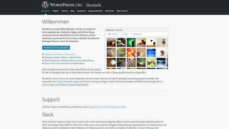 Wordpress-Homepage im November 2015