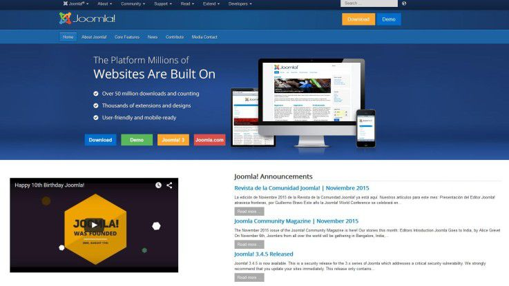Joomla-Homepage im November 2015