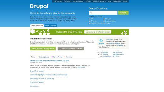 Drupal-Homepage im November 2015