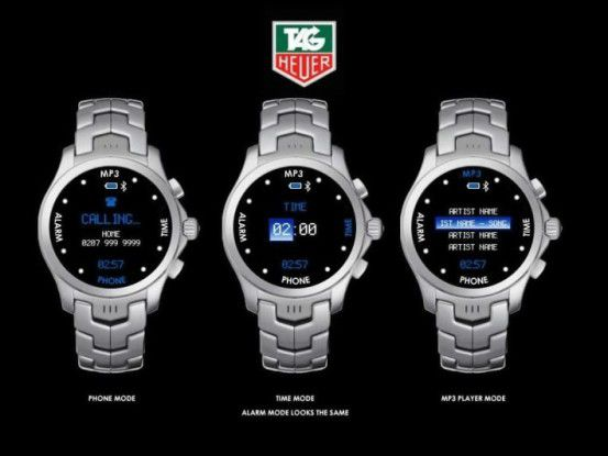 Die Tag Heuer Connected in verschiedenen Modi: Phone Mode, Time Mode und MP3 Player Mode